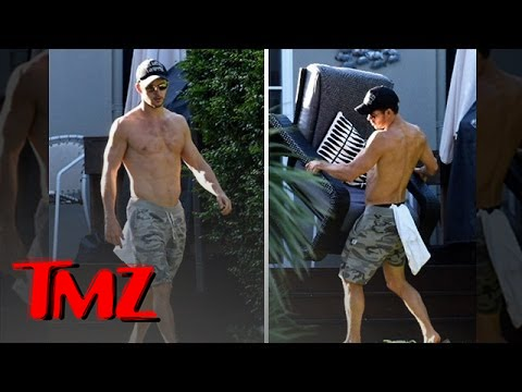 Blood - Ryan Kwanten gives the cameras a little show by moving around heavy furniture but the best part is he's shirtless the entire time!