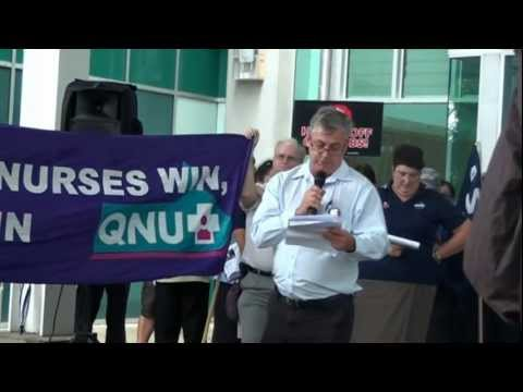 QNU Hands off rally at RBWH