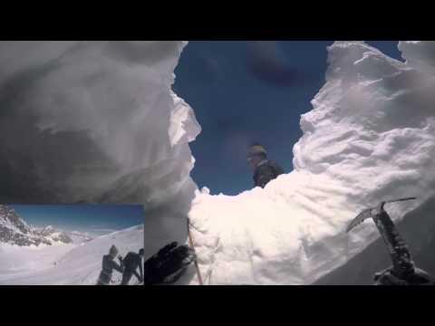 Laskettelija vajoaa jäärailoon – Katso kuumottava video