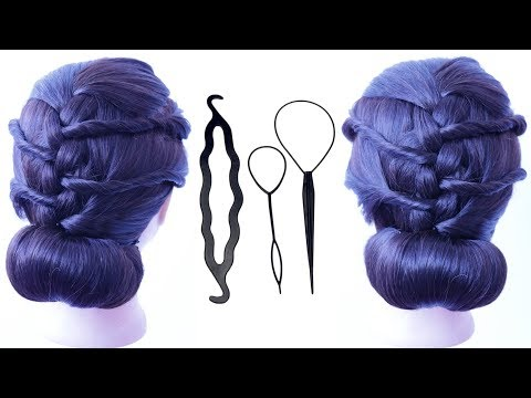 New hairstyle - new low bun hairstyle with using magic hair lock  chignon hairstyle  wedding guest hairstyle