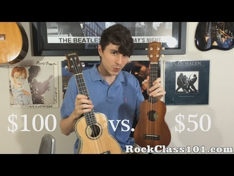 Concert Ukulele - Is double the price that much better? Read the full review at: http://rockclass101.com/50-soprano-ukulele-vs-100-concert-ukulele/ Learn the Songs Featured in...