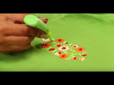 Liquid Embroidery Neck Designs