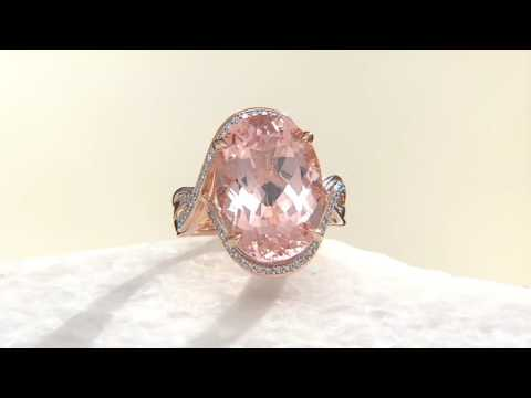 Oval Morganite and Diamond Bold Ring, 14K Gold 10.00 ct on QVC