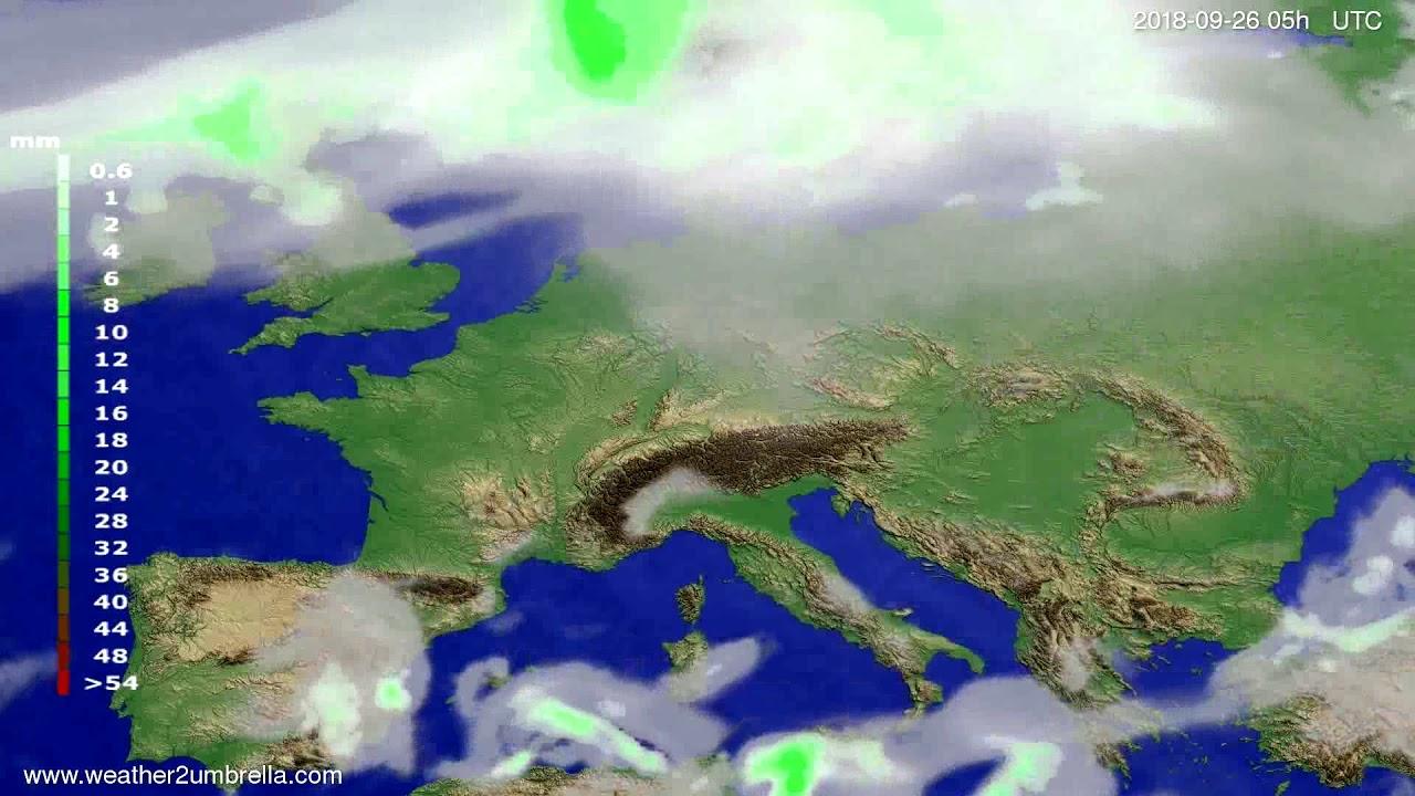 Precipitation forecast Europe 2018-09-23