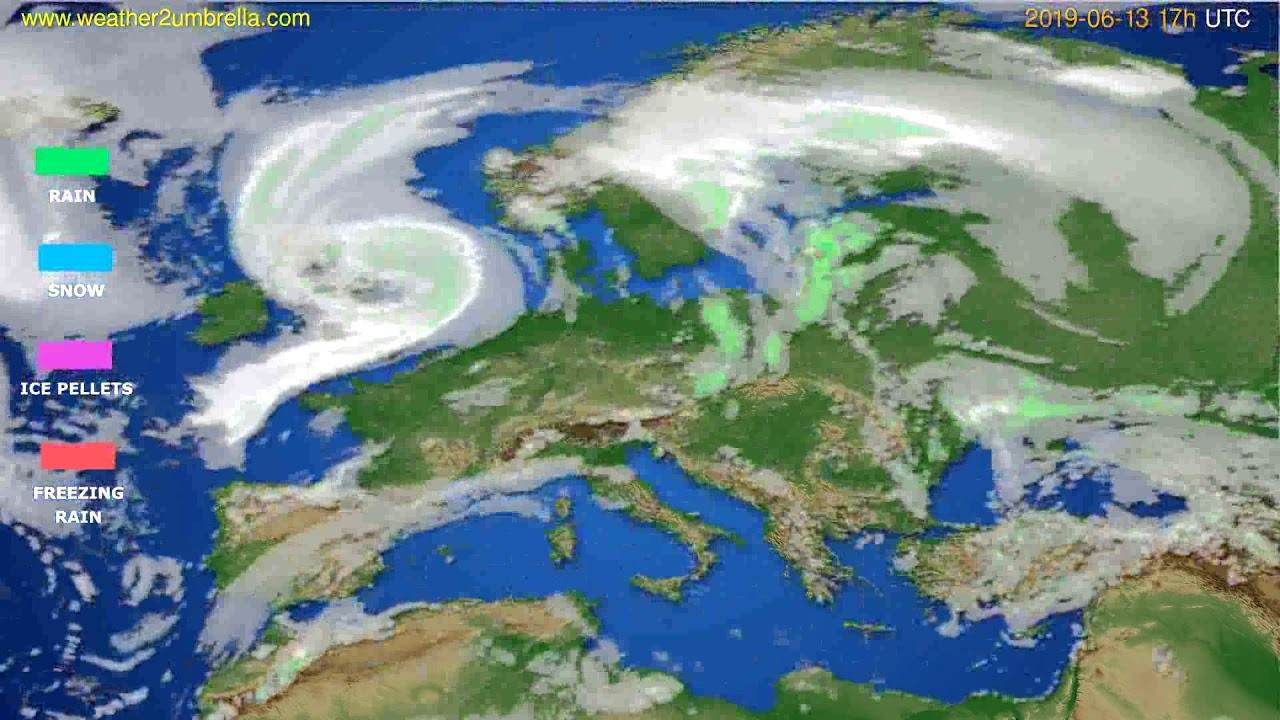 Precipitation forecast Europe // modelrun: 00h UTC 2019-06-12