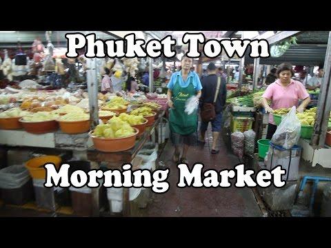 Thai Food Market in Phuket Town, Phuket Island Thailand. Phuket Town Morning Market.
