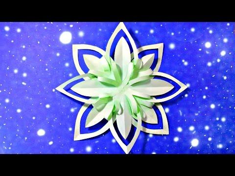 Download Modular 3d origami snowflake frozen easy star paper tutorial.christmas diy paper snowflakes HD Video