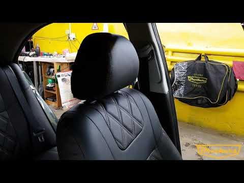 """Чехлы на Toyota Avensis 2 (седан), серии """"Premium"""" с ромбами - коричневая строчка"""