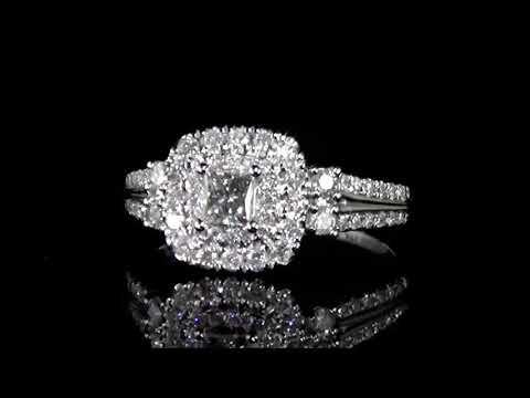 女裝14K白金0.90克拉(總重)鑽石戒指