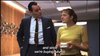 "A copywriter walks the ""new girl"" around Sterling Copper, An Ad agency, and gives a tour of that ad agency runs. Scene from Mad ..."