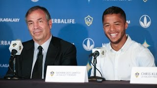 LA Galaxy midfielder Giovani dos Santos holds his first press conference since joining the team. Want to see more from the LA Galaxy? Subscribe to our channe...