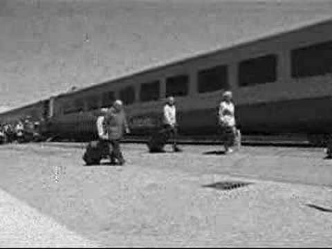 Two men, two cams, two trains