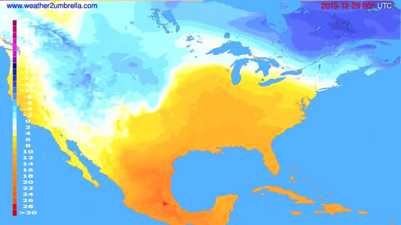 Temperature forecast USA & Canada // modelrun: 00h UTC 2019-12-28