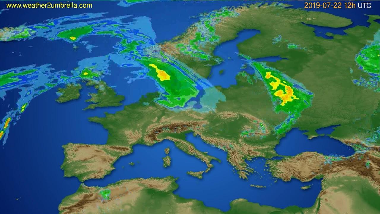 Radar forecast Europe // modelrun: 00h UTC 2019-07-22