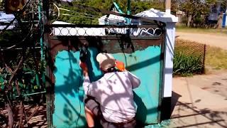 Как Быстро Феном удалить Старую Краску на Воротах ( TimeLapse )