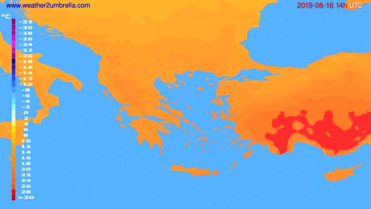 Temperature forecast Greece // modelrun: 00h UTC 2019-08-14