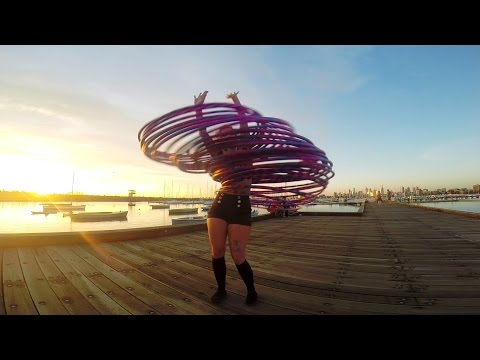 Coral Jade Dancing With 30 Hula Hoops