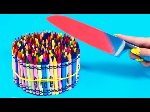 EXPERIMENT Glowing 1000 degree KNIFE VS 20 OBJECTS! Crayons Orbeez School Supplies Toys! SATISFYING (видео)
