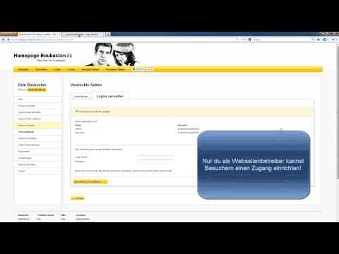 Homepage-Baukasten.de Tutorial: Login-Bereich