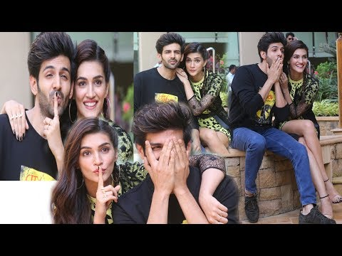 Luka Chuppi Couple Kartik Aryan with Kriti Sanon snapped promoting their film #lukkachuppi