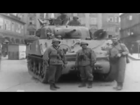 1945: First US Troops into Linz, Austria Sherman Tanks  ...