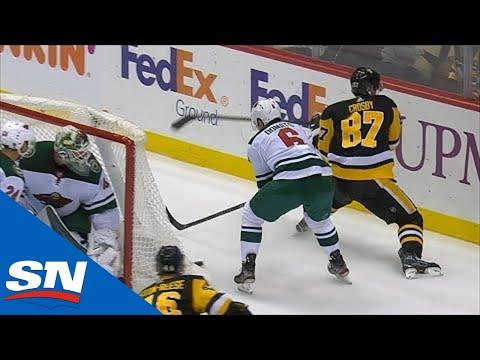 Sidney Crosby Banks Puck Off Back Of The Net, Feeds Dominik Simon For Penguins Goal
