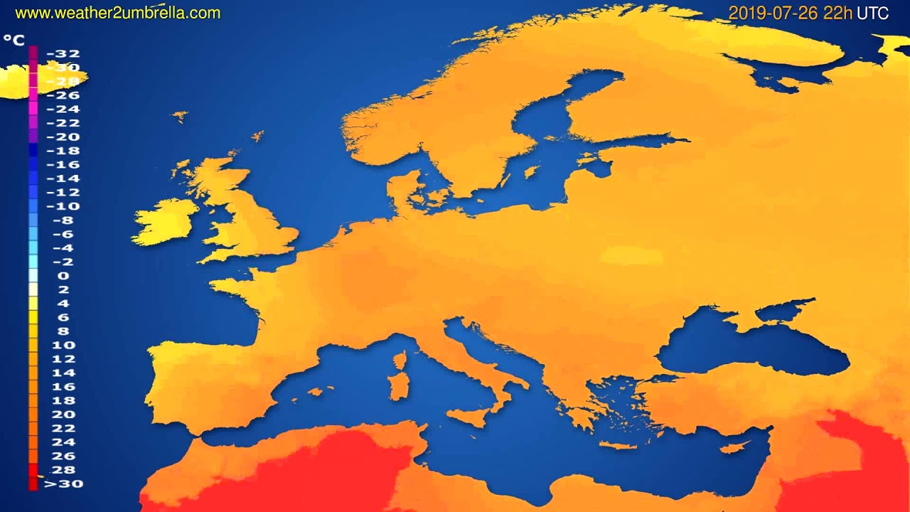 Temperature forecast Europe // modelrun: 12h UTC 2019-07-24