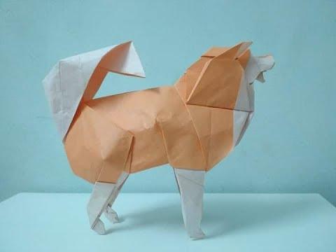 Quá trình gấp Chó Origami