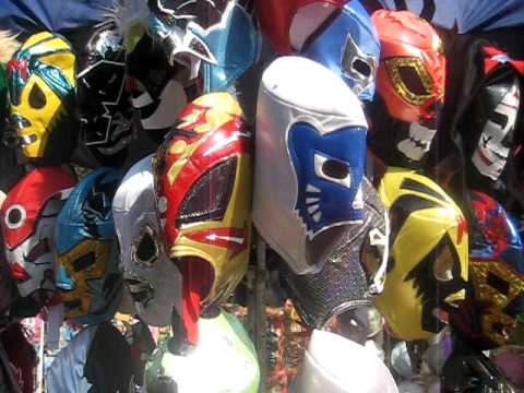 mexican wrestling mask - The colourful Lucha Libre Mexican wrestling masks for sale in Bosque de Chapultepec in Mexico City.