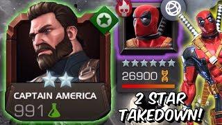 2 Star Captain America (Infinity War) VS Epic Deadpool Final Boss - Marvel Contest Of Champions