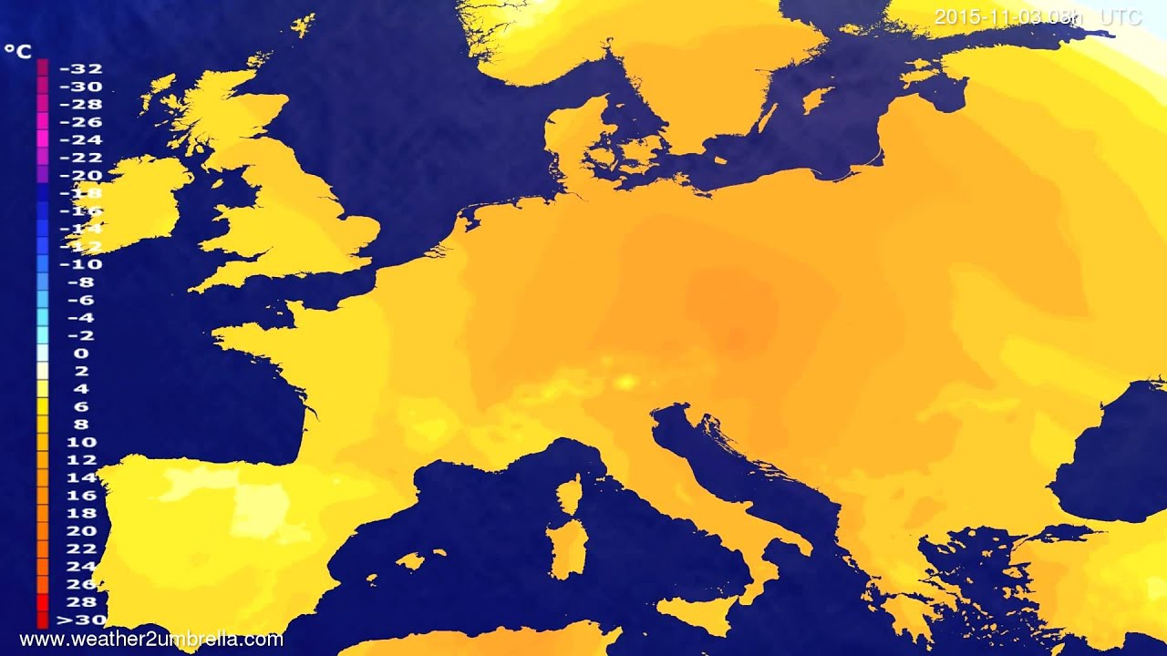 Temperature forecast Europe 2015-10-31