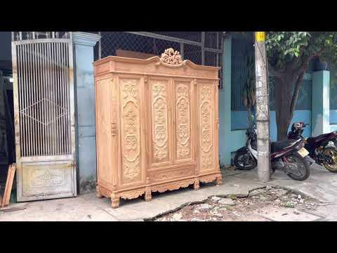 Mâu tủ áo gỗ gõ đỏ mới nhất 2021 | Đồ Gỗ Cường Nga