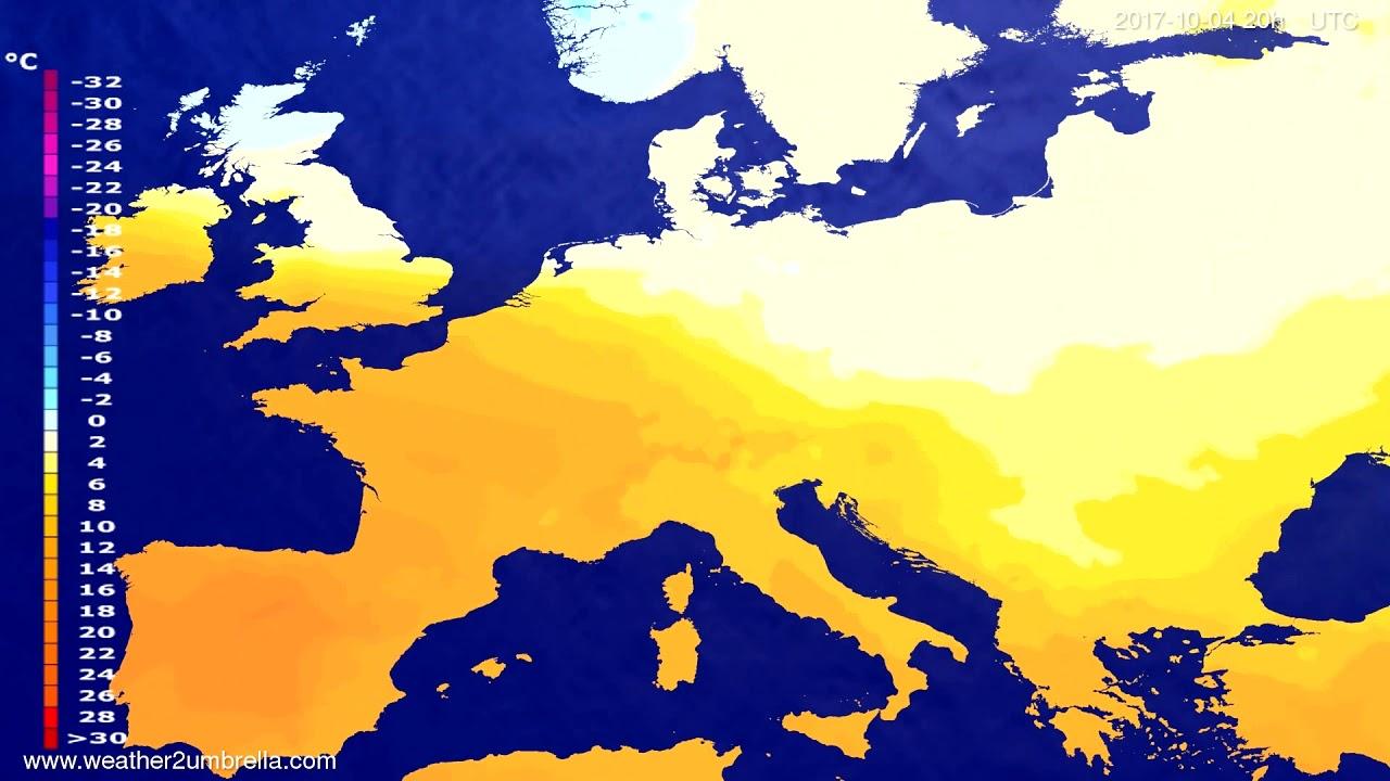 Temperature forecast Europe 2017-10-01