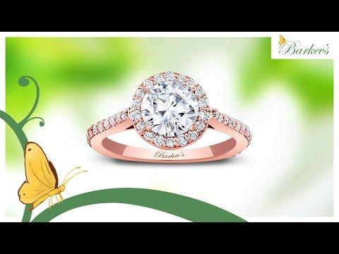 Barkev's Rose Gold Halo Engagement Ring - 7933LP