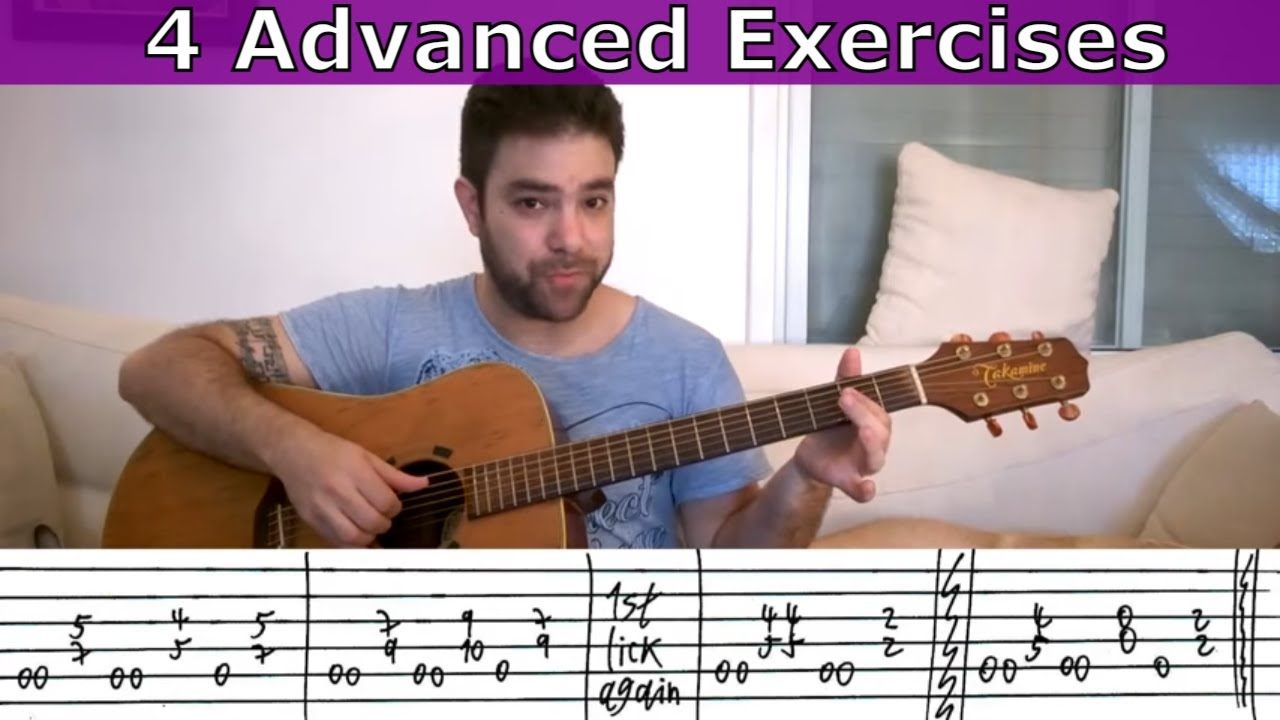 4 Advanced Fingerstyle Exercise Riffs – Guitar Lesson Tutorial w/ TAB