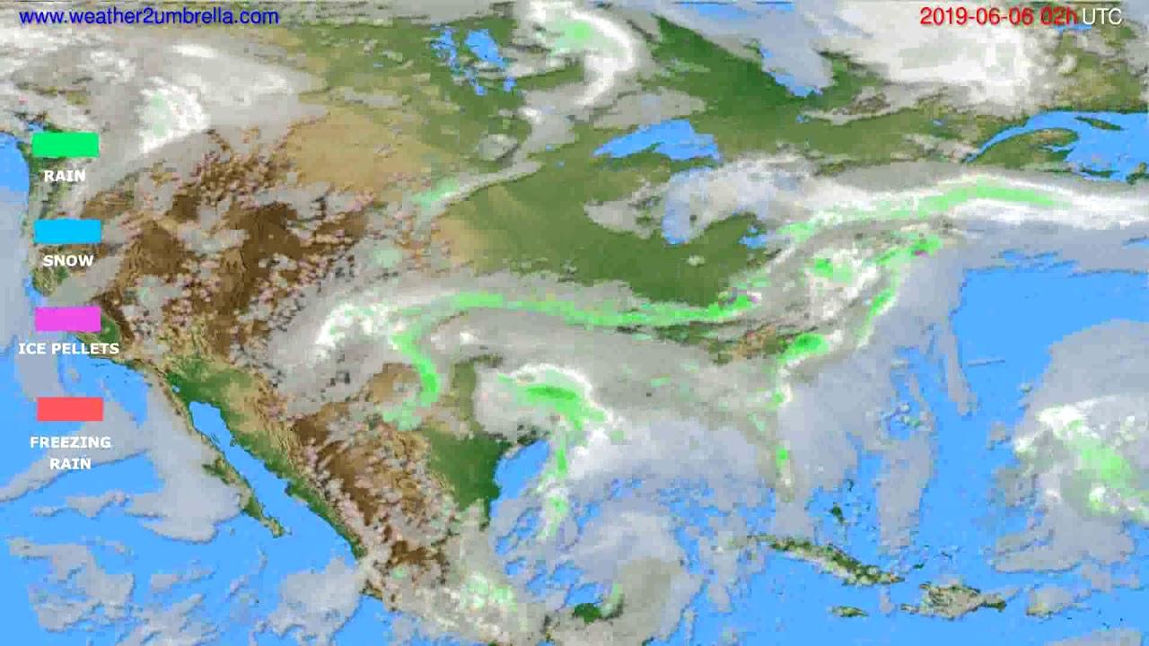 Precipitation forecast USA & Canada // modelrun: 00h UTC 2019-06-04