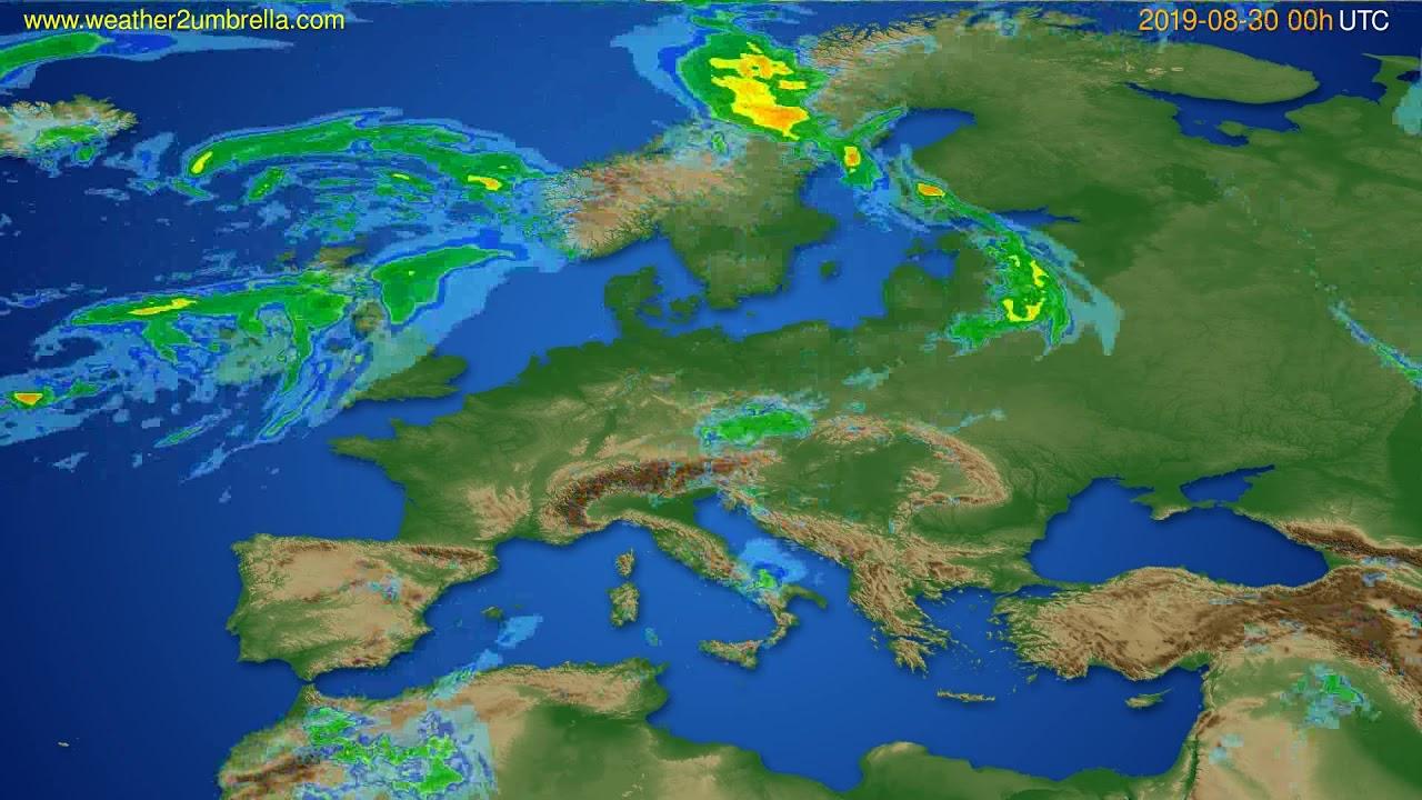 Radar forecast Europe // modelrun: 12h UTC 2019-08-29