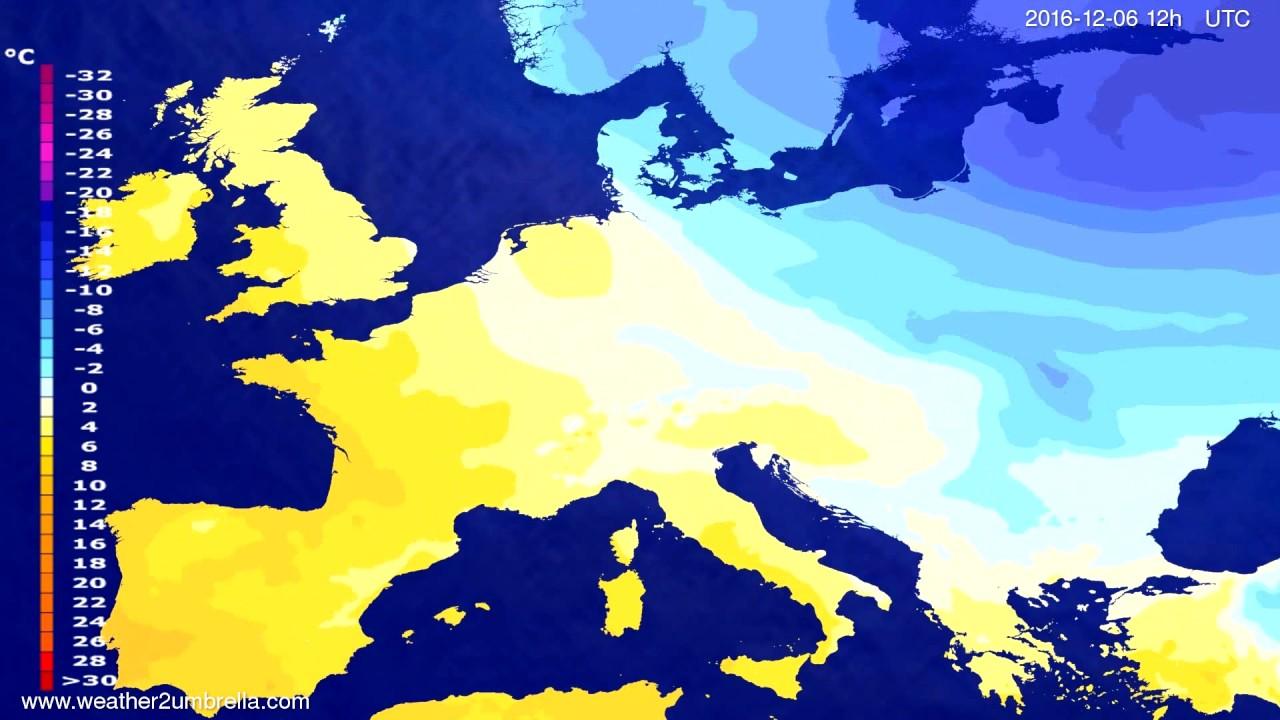 Temperature forecast Europe 2016-12-02