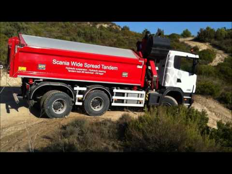 Грузовики Scania Wide Spread tandem, turning radius