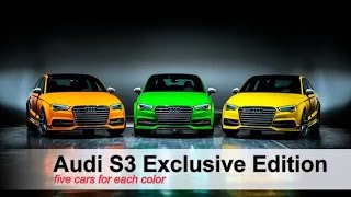 Audi S3 Exclusive Edition 'or' Limited Edition avalaible only be five cars for Each color.You can visit gtspirit.com for more Information about Audi S3 Exclusive Edition.Want to watch more about Audi S3 Review?.Please Subscribe 'The Hobbies' Channel: http://www.youtube.com/channel/UCx4ucyL9lMbkczfVM6XPt0A?sub_confirmation=1Playlist for Audi S3 Review:https://www.youtube.com/playlist?list=PLLdgoAiUWzEalHommVK3hlzgiJu7Bb0fn2016 Audi S3 Exclusive Edition Review:https://youtu.be/P27aOlHz-DEFollow us:Facebook: https://www.facebook.com/pages/The-Hobbies/1608708182749316Twitter: https://twitter.com/HobbiesChannelPinterest: https://www.pinterest.com/TheHobbies/Google+: https://www.google.com/+ThehobbieschannelBlogspotVideos