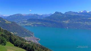 Gersau Switzerland  city photos : 4K Gersau Lake Vierwaldstättersee Schwyz SWITZERLAND アルプス山脈 aerial view