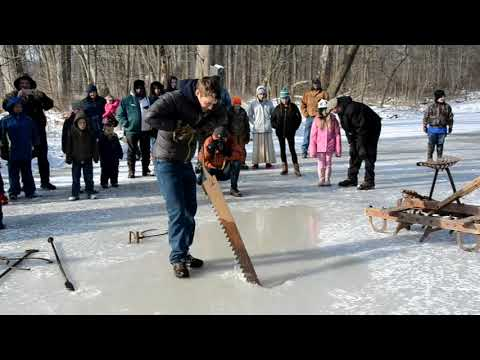 Ice harvesting like it was done in the 1800s on Pennsylvania farms