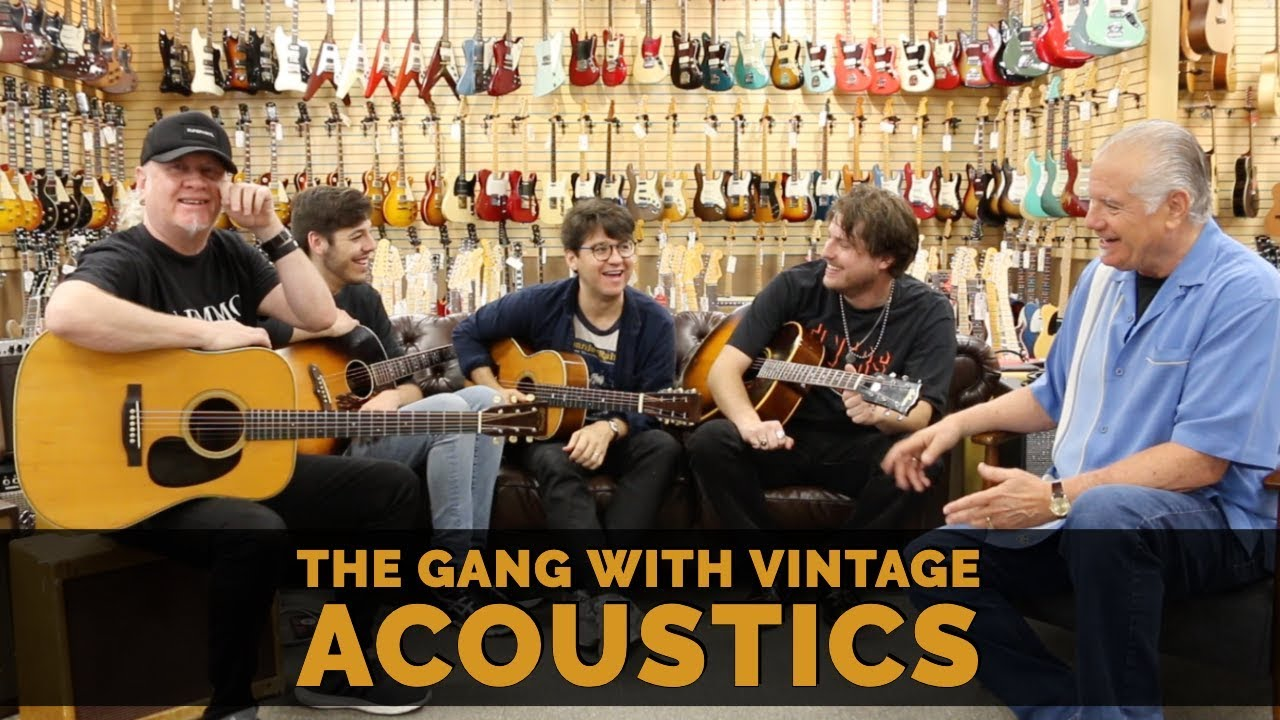 The Gang with 4 Vintage Acoustic Guitars at Norman's Rare Guitars