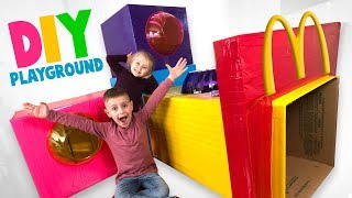 DIY McDonald's Playground in our House! Fun Family Box Fort Challenge!