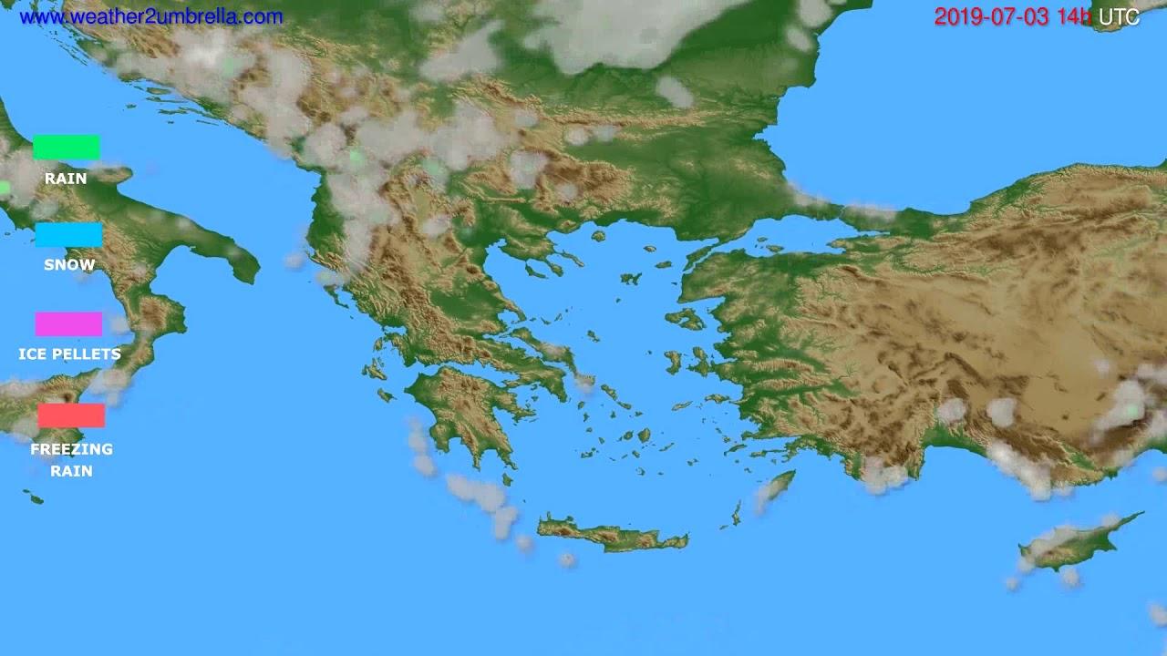 Precipitation forecast Greece // modelrun: 12h UTC 2019-07-01