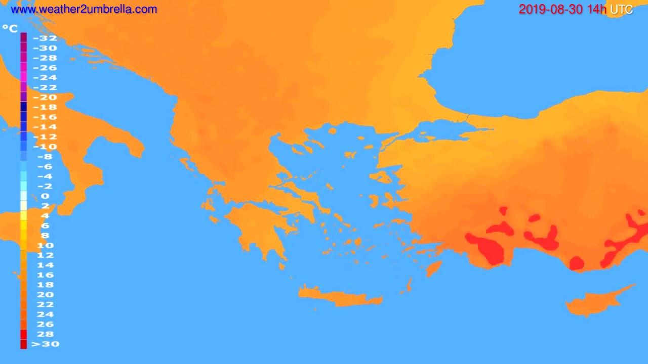 Temperature forecast Greece // modelrun: 00h UTC 2019-08-28