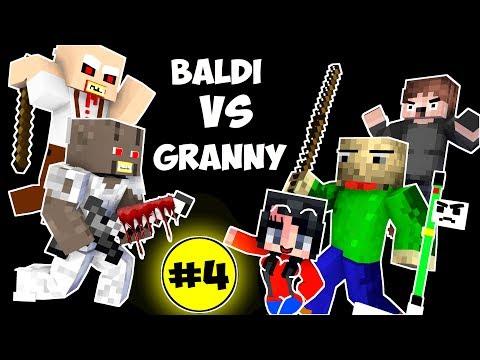 Monster School : BALDI'S BASICS VS GRANNY CHALLENGE PART 4 - Minecraft Animation Kids Mobs (видео)