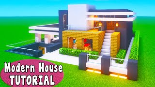 """Minecraft Tutorial: How To Make A Modern Mansion With a Pool House """"2020 Tutorial"""""""