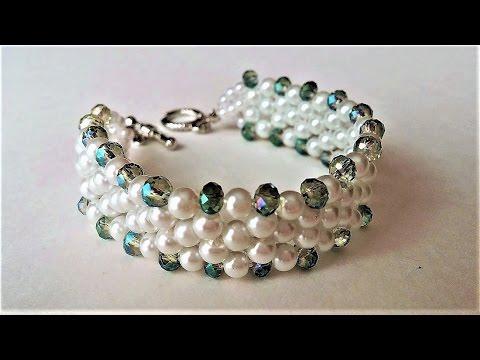 Elegant Evening Beaded Bracelet. DIY beaded Jewelry: Pearls and Crystal Beads