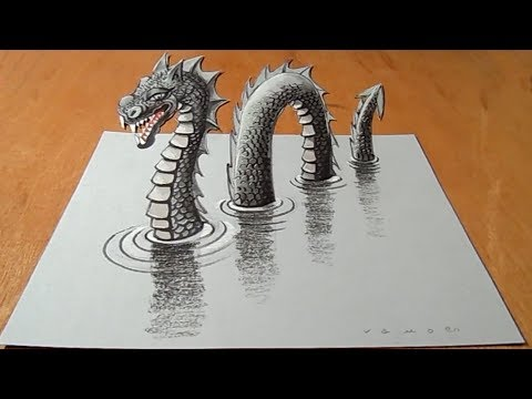 Video Amazing Loch Ness Monster Illusion - Drawing 3D Nessy - VamosART download in MP3, 3GP, MP4, WEBM, AVI, FLV January 2017